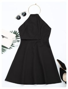Ring Halter Flare Dress (Black)