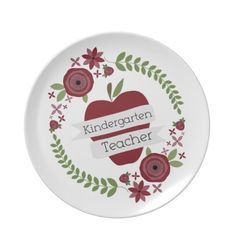 Kindergarten Teacher Floral Wreath Red Apple Dinner Plates  Click on photo to purchase. Check out all current coupon offers and save! http://www.zazzle.com/coupons?rf=238785193994622463&tc=pin