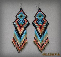 Long Indian style beads earrings   tribal style boho by Olisava
