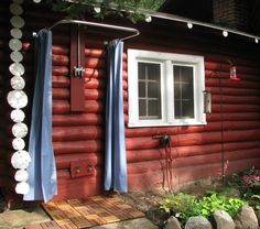 Outdoor Shower With Outdoor Shower Curtain Rod  Outdoor Shower Curtain