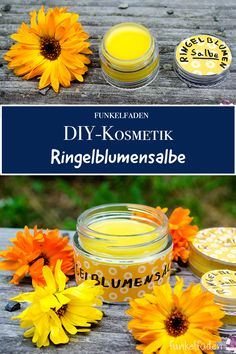 Anleitung - Ringelblumensalbe einfach Selbermachen - DIY-Naturkosmetik With this simple guide, you can easily make a nourishing ointment from dried marigolds - DIY natural cosmetics for the home Diy Nature, Diy Beauty, Beauty Hacks, Natural Make Up, Natural Cosmetics, Just Giving, The Balm, Herbalism, Easy Diy