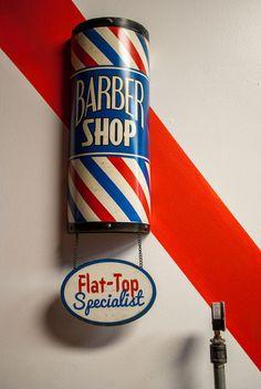 Hall of Fame Barber Shop Barber Shop Beard Flat Top Grooming Male Man Men Retro Sign Tin Vintage Young Man