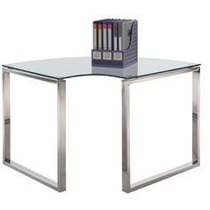Check out the Chintaly Imports 6931-DSK-CRN Corner Computer Desk Table in Clear Glass priced at $370.25 at Homeclick.com.