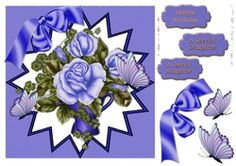 pretty blue roses and matching bow with butterflies in frame on Craftsuprint - View Now!