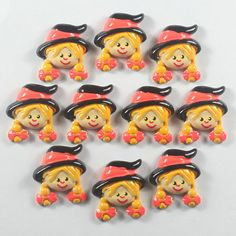 Bulk 10pcs Girl W/ Orange Hat For Halloween by TheButtonSisters