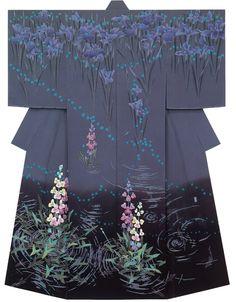 Kimono, grays and blacks, flowers -- Kaga-Yuzen Homongi Kimono Masahiko Amano Japanese Textiles, Japanese Patterns, Japanese Prints, Japanese Art, Traditioneller Kimono, Black Kimono, Traditional Kimono, Traditional Dresses, Japanese Outfits