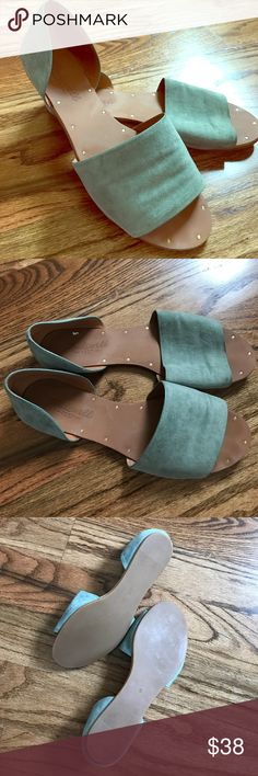 Leather - Sea foam Sandals Sea foam sandals with leather upper (super soft) and gold studs Madewell Shoes Sandals