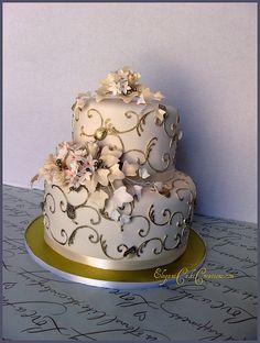 Wedding Anniversary Cake by Elegant Cake Creations AZ Gorgeous Cakes, Pretty Cakes, Amazing Cakes, 50th Wedding Anniversary Cakes, 20th Anniversary, Disco Cake, Square Wedding Cakes, Just Cakes, Elegant Cakes