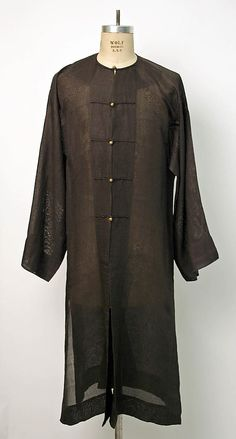 Chinese Men's Robe ca. 1905 // Medium: Silk Gauze // Dimensions: Length at CB: 45 in. cm) // Credit Line: Gift of Mrs. Donald E. Mens Traditional Wear, Traditional Dresses, Chinese Man, Chinese Style, Chinese Clothing, Museum Collection, Historical Costume, New Wardrobe, Metropolitan Museum