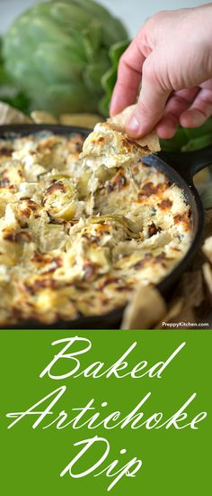 Baked Artichoke Dip made with Pecorino, gouda and cream cheese.  | Cheesy appetizers, skillet appetizers, comfort food, game day recipes #vegetarian #comfortfood #appetizers #cheese #skillet #recipes