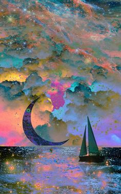 I like the idea of the moon sitting on the horizon, sailing to the moon.