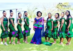 The Divine Style Wedding Dresses South Africa, African Wedding Attire, Tsonga Traditional Dresses, African Traditional Dresses, Traditional Wedding Attire, Traditional Outfits, African Beauty, African Fashion, Emerald Green Evening Dress