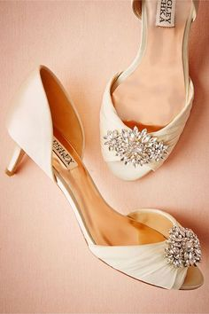 d417ec4c81f9 Libretto Kitten Heel in Ivory by Badgley Mischka    We re smitten with this  kitten heel s romantic charm. From the chiffon-wrapped toe to the crystal  ...