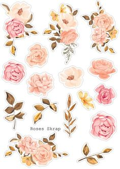 "Die cut ""Roses"" Die cut ""Roses"" à découper Journal Stickers, Scrapbook Stickers, Scrapbook Paper, Sticker Printable, Printable Planner Stickers, Calendar Stickers, Printable Party, Free Printables, Tumblr Stickers"