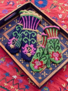 Handknit embroidered mittens from Kristin Nicholas' book Color by Kristin