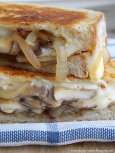 mushroom and onion grilled cheese