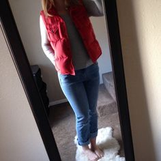 NEED GONE ASAPRalph Lauren Down Vest A very pretty red. A bit dirty on the collar form storage but may come out. Very puffy vest and in excellent condition Ralph Lauren Jackets & Coats Vests
