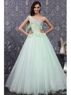 Lovely Satin One Shoulder Sweep Train Ball Gown Wedding Dress with Crystal Ball Gown Wedding Dresses Pinterest Ball gowns Wedding dress and Gowns