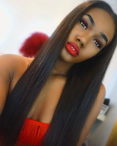 Red Lipstick Looks, Russian Red, Ruby Woo, Nyx Cosmetics, Red Lipsticks, Dark Skin, Brows, Valentines, Long Hair Styles