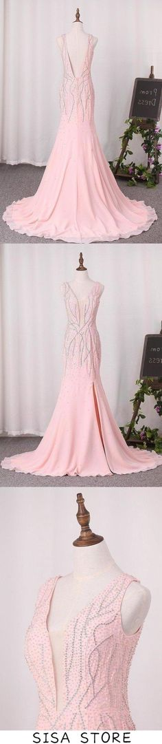 2019 Open Back V-Neck Mermaid Chiffon With Beads And Slit Prom, This dress could be custom made, there are no extra cost to do custom size and color Straps Prom Dresses, Wedding Bridesmaid Dresses, Slit Dress, Chiffon Dress, Affordable Prom Dresses, Formal Dresses, Make Your Own Dress, Elastic Satin, White Embroidery