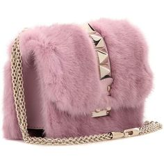 Valentino Lock Mini Mink Fur and Leather Shoulder Bag (29 550 SEK) ❤ liked on Polyvore featuring bags, handbags, shoulder bags, mini purse, purple leather handbags, leather purses, kiss-lock handbags and mini handbags