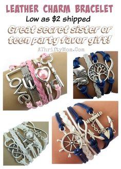 leather bracelet, , girls camp or secret sisiter gift idea, teen girl party favors