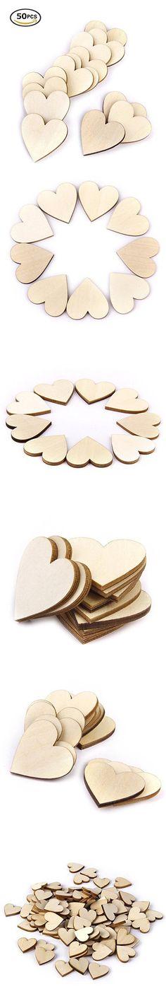 Gospire 50 x Scrabble Wood Tiles Wooden Heart shapes Laser Cut Blank Embellishments Craft Wedding Christmas Ornaments 40mm x 40mm