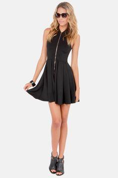 A dress with a zipper down the front? Love it! http://www.lulus.com/products/tilt-a-twirl-sleeveless-black-dress/104770.html