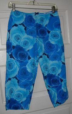 50% OFF Blue Rose Print 80s Women Capris size 12