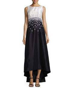 Sleeveless Embellished Crisscross-Back Gown  by Kay Unger New York at Neiman Marcus.