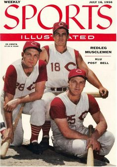 Wally Post, Ted Kluszewski and Gus Bell, Sports Illustrated, 1956 Baseball Posters, Sports Baseball, Baseball Cards, Softball, Sports Magazine Covers, Si Cover, Cover Art, Cincinnati Reds Baseball, Pittsburgh Steelers