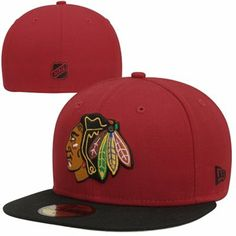 New Era Chicago Blackhawks 2-Tone 59FIFTY Fitted Hat - Red/Black  Size: 7 1/4 or 3/8