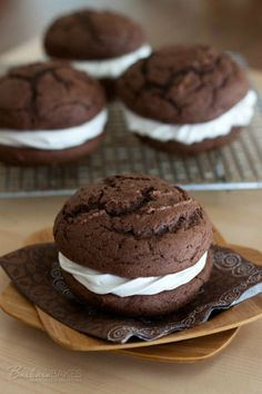 Chocolate Egg Nog Whoopie Pies - from Acosta Acosta Schieving {Barbara Bakes} Pie Recipes, Sweet Recipes, Cookie Recipes, Dessert Recipes, Chocolate Whoopie Pies, Chocolate Desserts, Cupcakes, Cupcake Cakes, Just Desserts
