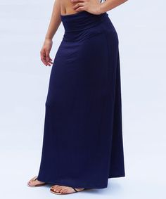 Another great find on #zulily! Navy Fold-Over Maxi Skirt by Magic Price #zulilyfinds