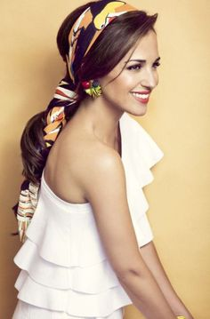 beautiful ! love the way this #silkscarf is being worn..so nicely blended with hair!