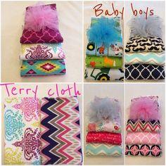 Baby burp cloth set of three prefold diaper by babiesallaround