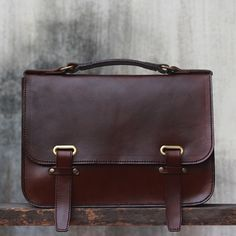 Handmade Leather Briefcase - Chocolate Brown 13inch Slip Tights - JooJoobs