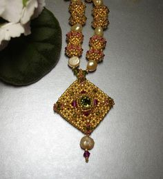 Catherine of Aragon Beadwoven Necklace with Beaded Beads.