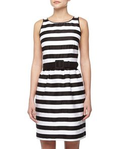 Striped Sateen Fit-And-Flare Dress, Black/White by Neiman Marcus at Neiman Marcus Last Call.