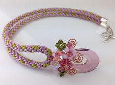 Kumihimo necklace with Swatovski crystal pendant handmade by Pastelgems.