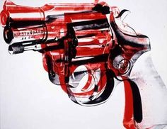 Andy Warhol - I like the colour change between the gun and its movement, pretty much says that when the gun is moved upwards its deadlier (red part), when the bullet comes out (recoil)