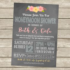 Printable Honeymoon Shower Party Invitations 5x7 Typography Fl Chalkboard