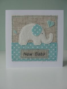 Baby Elephant with Heart, Handmade Baby Card - Folksy Handgemachtes Baby, Diy Baby, Baby Elefant, Sewing Cards, Sewing Diy, Fabric Cards, Baby Fabric, New Baby Cards, Baby Shower Cards