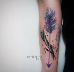 Gorgeous feather arrow Watercolour tattoo