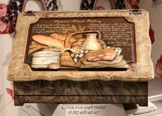 This is very pretty Home Crafts, Diy And Crafts, Arts And Crafts, Paper Crafts, Bread Boxes, Decoupage Box, Primitive Furniture, Tea Box, Furniture Makeover