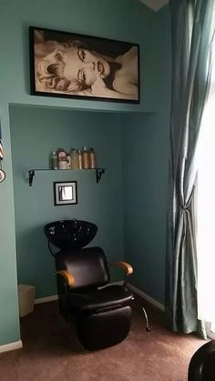 I love this idea for a small salon. The shampoo area is cozy and private letting your client relax. I would add some shelves for towels and possibly more storage