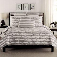 Max Studio Stars Stripes Quilt BedSpread Full Queen 3pcs Set Cotton Gray White #MaxStudioHome #Contemporary