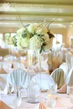 Tall Centerpiece  [Ivory dahlias, hydrangeas, seeded eucalyptus, curly willow, pearl accents]