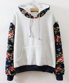 Fresh Style Colorful Flower Print Spliced Hoodie For Women Sweatshirts & Hoodies | RoseGal.com Mobile