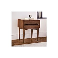 West Elm Benson Nightstand, Walnut ($299) ❤ liked on Polyvore featuring home, furniture, storage & shelves, nightstands, walnut furniture, walnut bedside table, drawer nightstand, walnut nightstand and west elm